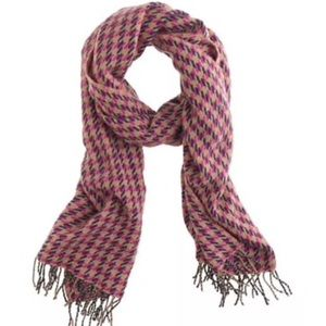 J.Crew Houndstooth Pink Navy &Tan Wool Scarf